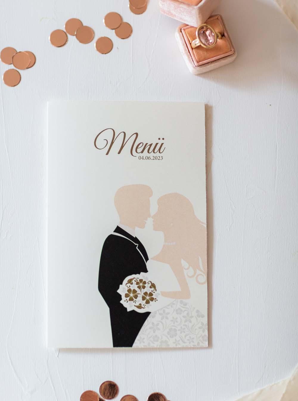 Menükarte aus der Serie Braut, Bräutigam mit Brautstrauß