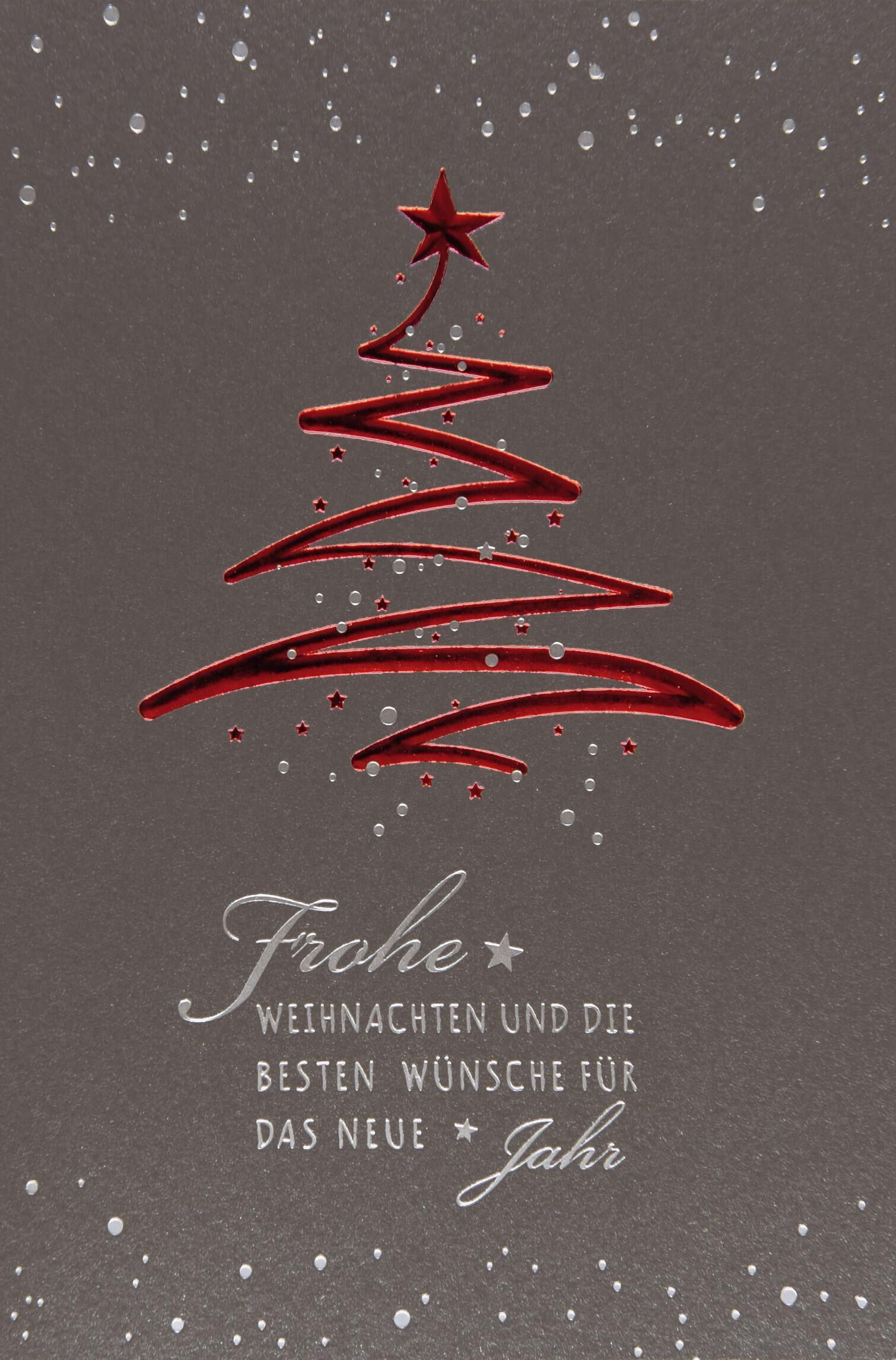Weihnachtsbaum Der Guten Wünsche.Anthrazitfarbene Weihnachtskarte Mit Rotem Tannenbaum Gruß Und