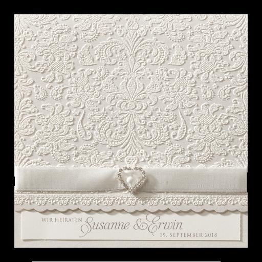 Hochzeitskarte mit Herz aus Strasssteinchen elegantem Band und