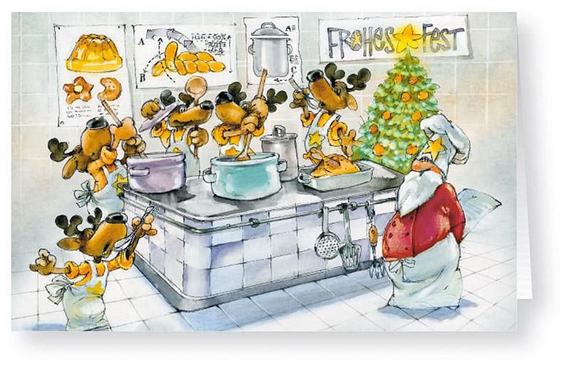 Kochschule comic  Weihnachtskarte Branchenkarte Kochschule Elche lernen Kochen ...