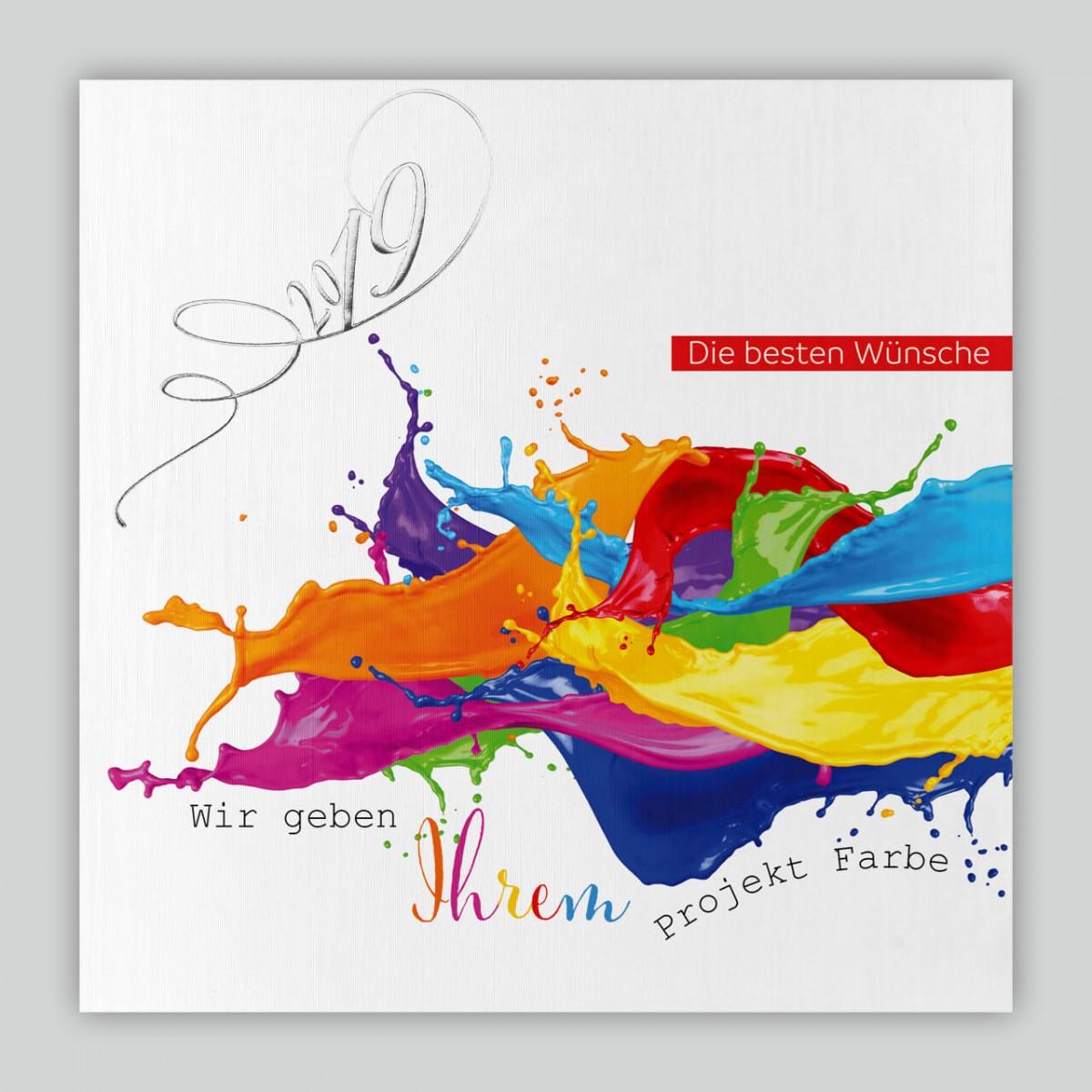 Geschäftliche Neujahrswünsche Karte Mit Farbspritzern