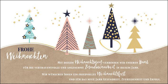 weihnachtskarte mit weihnachtsb umen und gesch ftlichem. Black Bedroom Furniture Sets. Home Design Ideas
