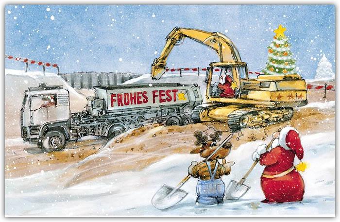 lustige weihnachtsbranchenkarte für tiefbau und baufirmen