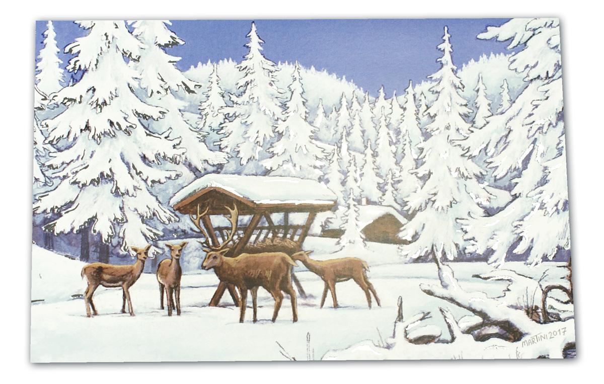 weihnachtskarte mit futterkrippe und rehen im verschneiten. Black Bedroom Furniture Sets. Home Design Ideas