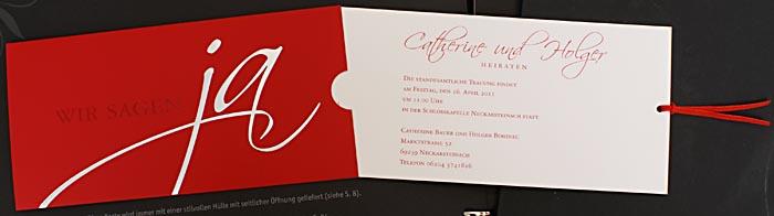 Hochzeitskarte Bm100037 Schiebekarte Rot Silber Wir Sagen Ja
