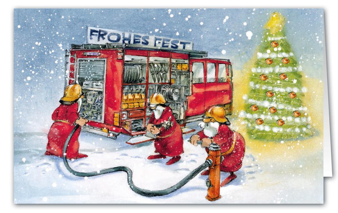 Weihnachtskarte als Branchenkarte für Feuerwehr