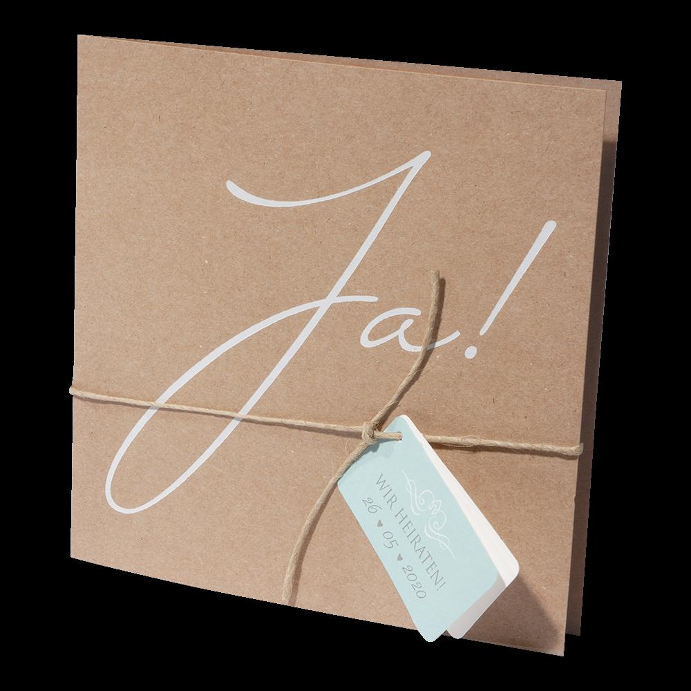 Hochzeitskarte Braun Quadratisch Mit Weiss Gepragtem Ja