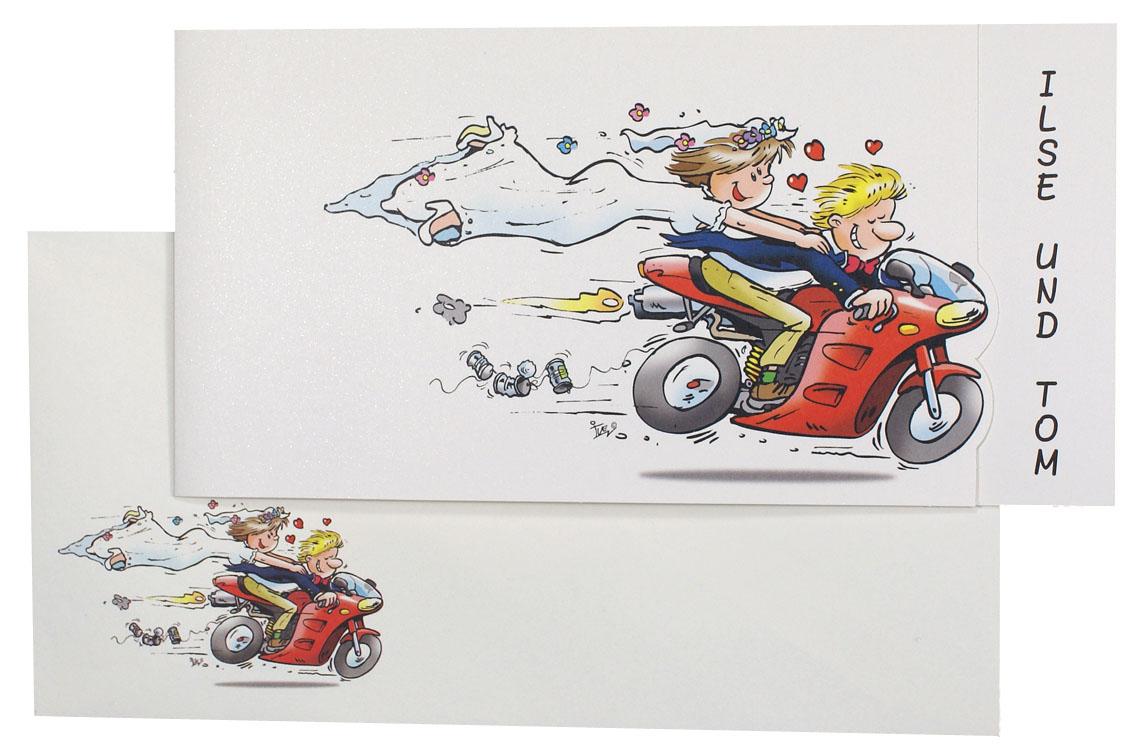 Comic Hochzeitskarte Mit Brautpaar Und Motorrad Kleeblatt Und