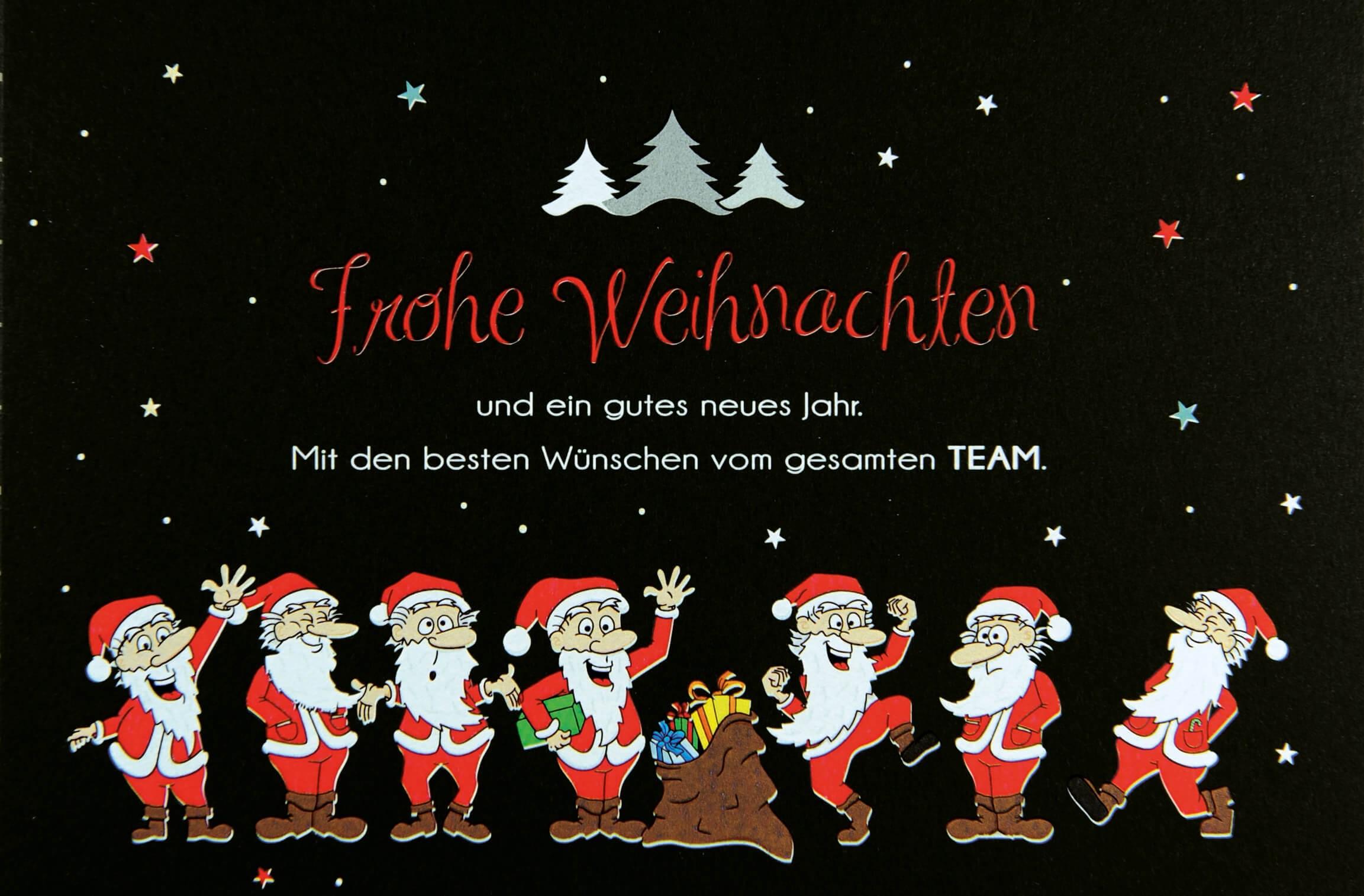 Lustige Teamweihnachtskarte schwarz mit Weihnachtsmännern und ...