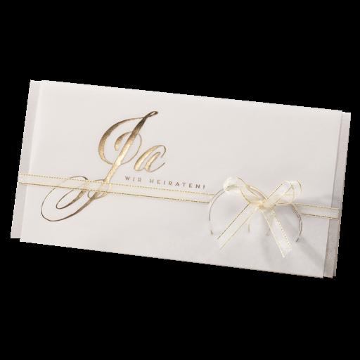 Hochzeitskarte M Transparentpapier Mit Trauringen U Ja In Gold