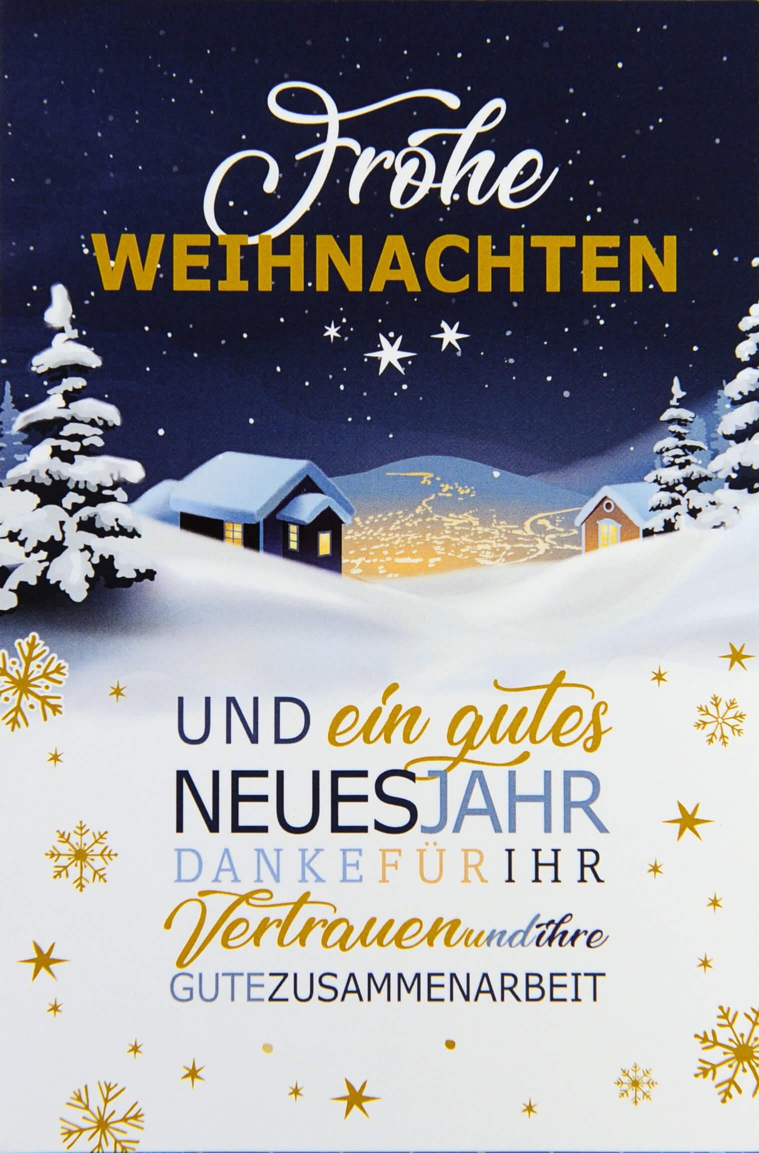 Weihnachtsgrüße Klassisch.Firmenweihnachtskarte Mit Verschneiter Winterlandschaft Bei Nacht