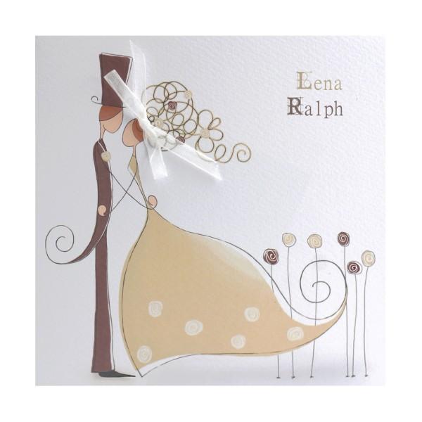 Hochzeitskarte Brautpaar Comic Karikatur Beige Und Taupe