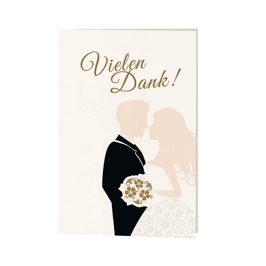 Danksagungskarte aus der Serie mit Braut, Bräutigam und Brautstrauß und Magnet zum Verschließen