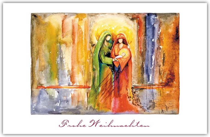 Religiöse Weihnachtskarten.Weihnachtskarte Christlich Mit Abbildung Der Heiligen Familie Und