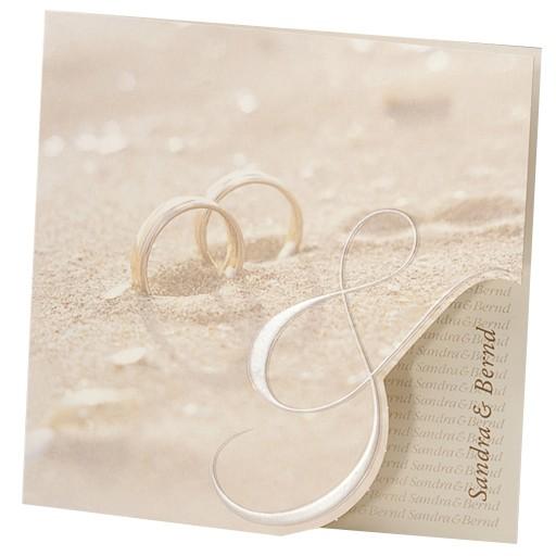 Hochzeitskarte Trauringe Im Sandstrand Mit Perlmutt Zeichen Und
