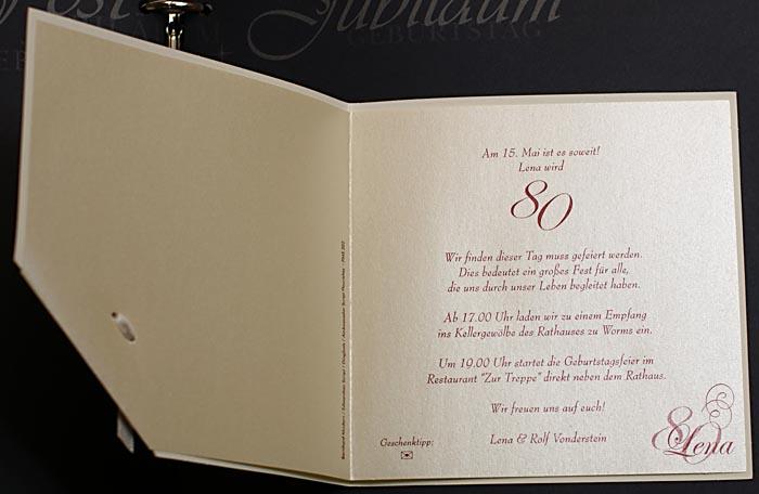 einladungskarte jubiläum geburtstag ornament perlmutt bändchen, Einladung