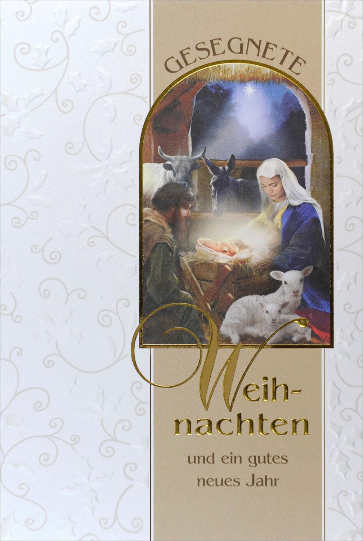 Religiöse Weihnachtskarten.Weihnachtskarte Gesegnete Weihnachten Christlich Mit Jesu Geburt Mit