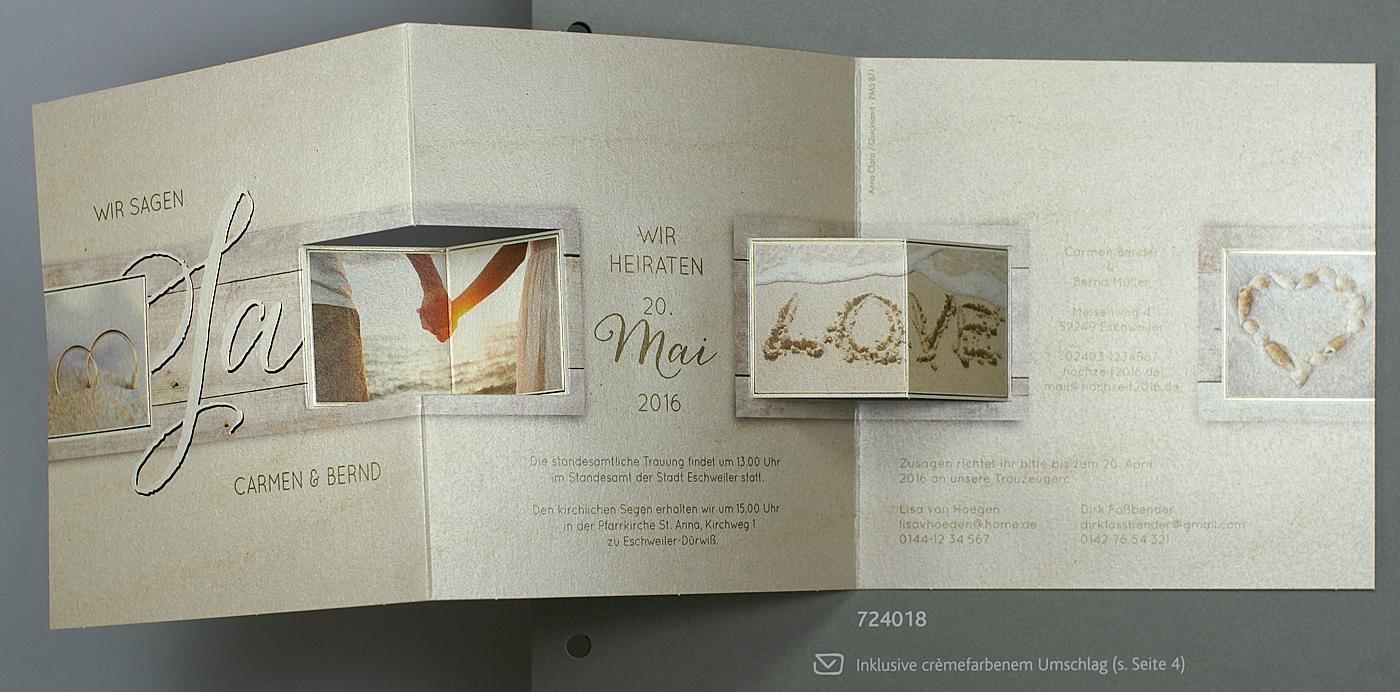 Hochzeitskarte Leporello In Maritimer Gestaltung Urlaubsmotive