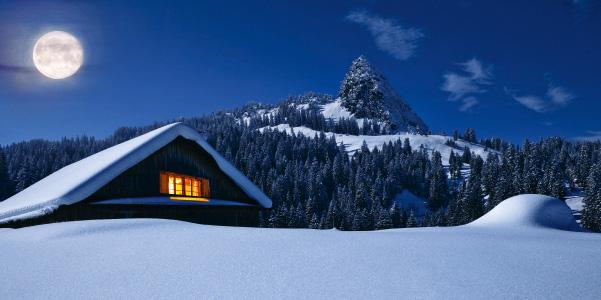 weihnachtskarte bergh tte mit vollmond in verschneiter. Black Bedroom Furniture Sets. Home Design Ideas