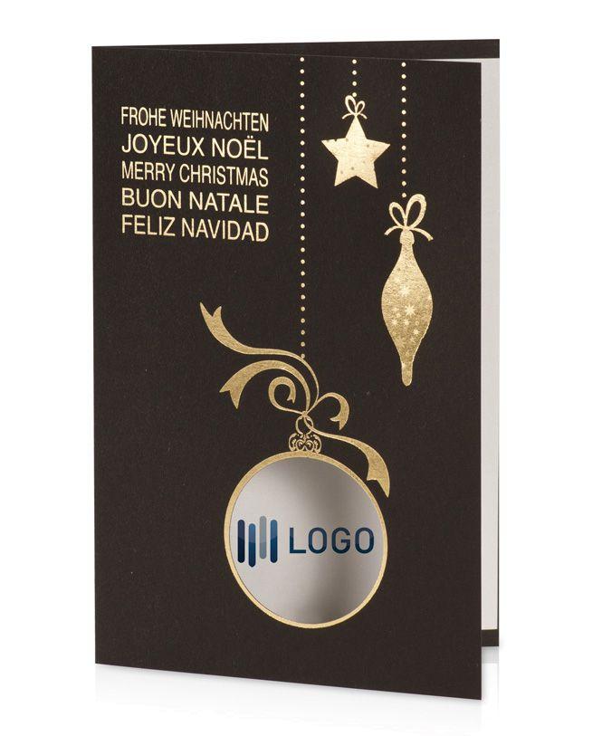 Weihnachtskarten Mit Firmenlogo.Weihnachtskarte Schwarz Gold Mit Stanzung Für Firmenlogo
