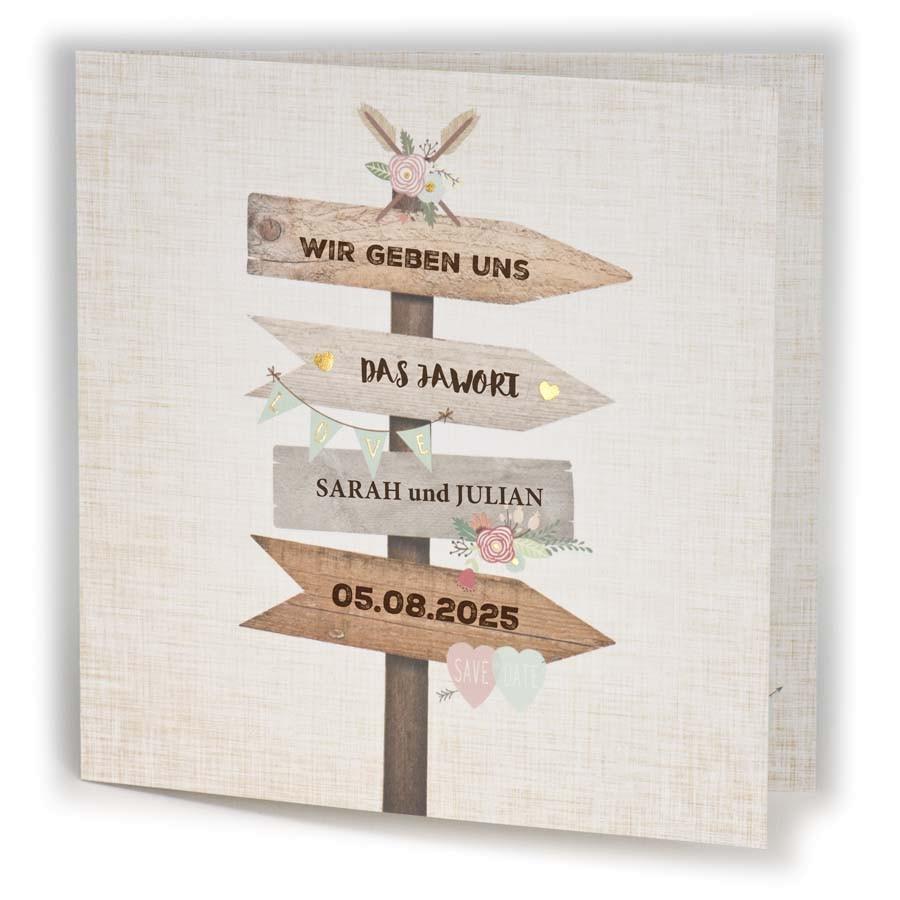 Originelle Hochzeitskarte Mit Wegweisern In Pfeilform In Rustikaler