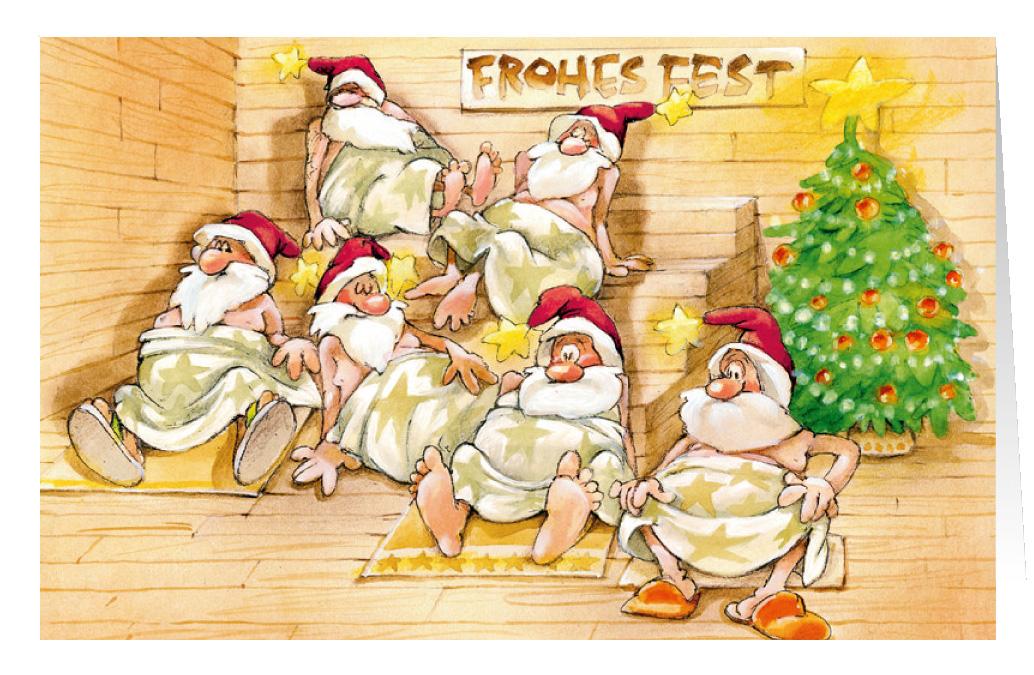 Wellness gutschein comic  Weihnachtskarte Branchenkarte Wellness Sauna Frohes Fest ...