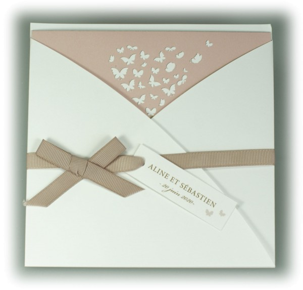 Hochzeitskarte Weiss Altrosa Mit Band Anhangekartchen Und