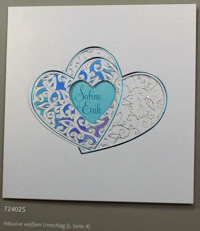 Hochzeitskarte Irisierend Mit Doppelherz Und Turkis Einlegeblatt