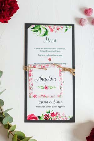 Menükarte und personalisierte Tischkarte in blumigen Design