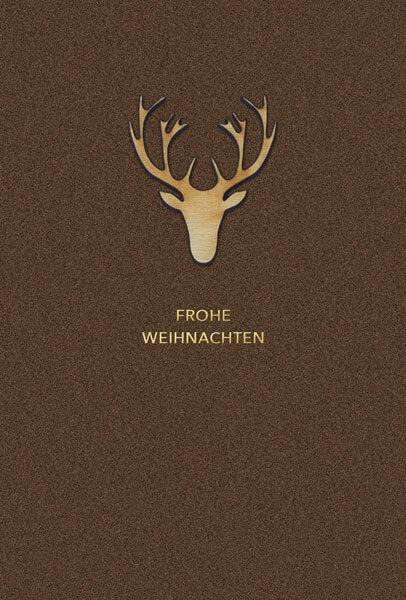 Holz Weihnachtskarten.Weihnachtskarte In Braun Mit Ausgefallenem Geweihkopf Aus Holz