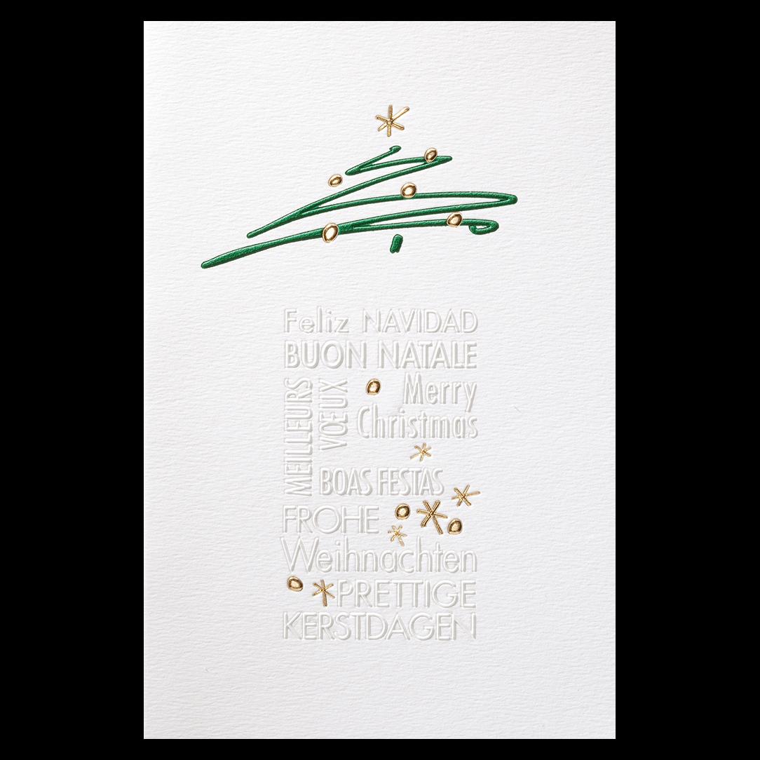 internationale weihnachtskarte in wei mit folienpr gung. Black Bedroom Furniture Sets. Home Design Ideas