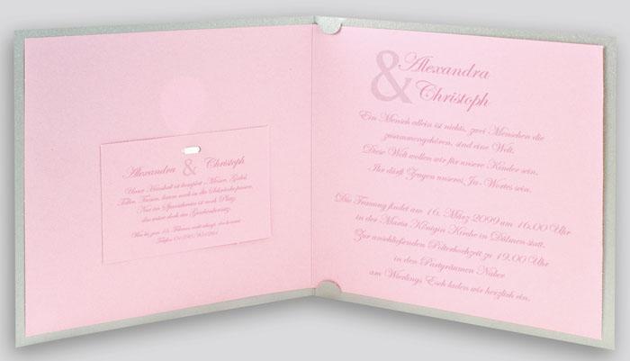Hochzeitskarte Grau Metallic Rosa Mit Silbernem Folien Zeichen