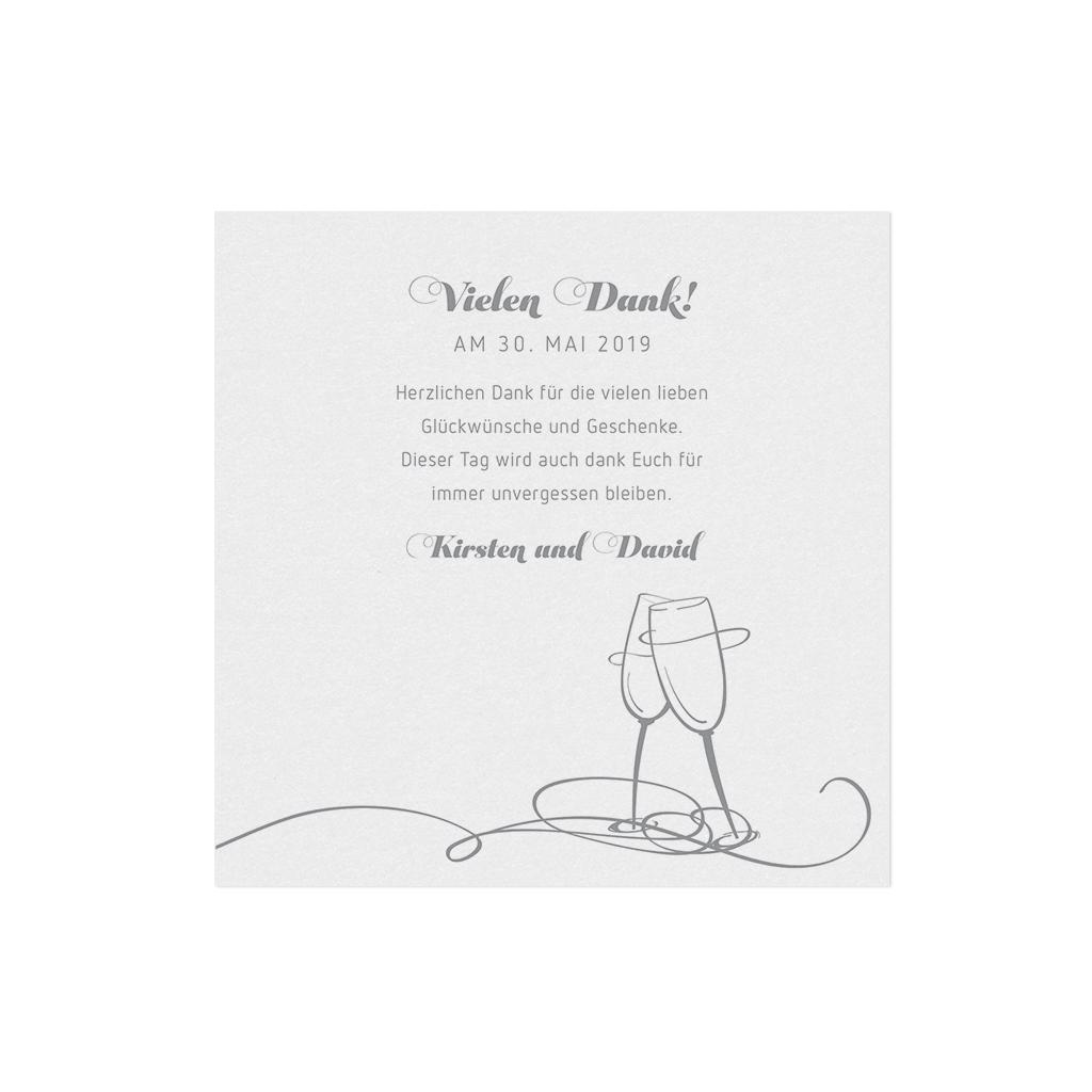 Save the Date Dankkarte in weiß metallic mit zwei Sektgläsern