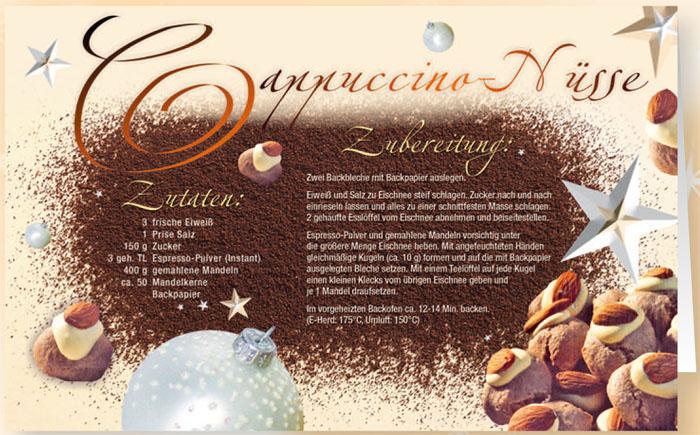 rezeptkarte weihnachtskarte cappuccino n sse mit duftlack. Black Bedroom Furniture Sets. Home Design Ideas
