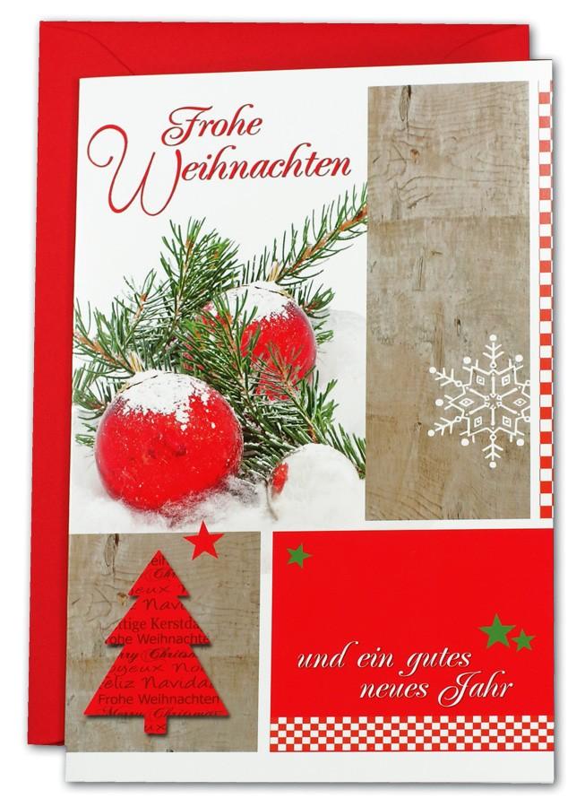 Weihnachtsgrüße Klassisch.Klassische Weihnachtskarte Rot Und Grün Mit Kugel Baum Und Sternen