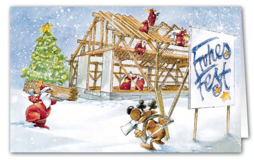 Weihnachtskarte als branchenkarte f r holzbaubetrieb und for Gelbe tafel
