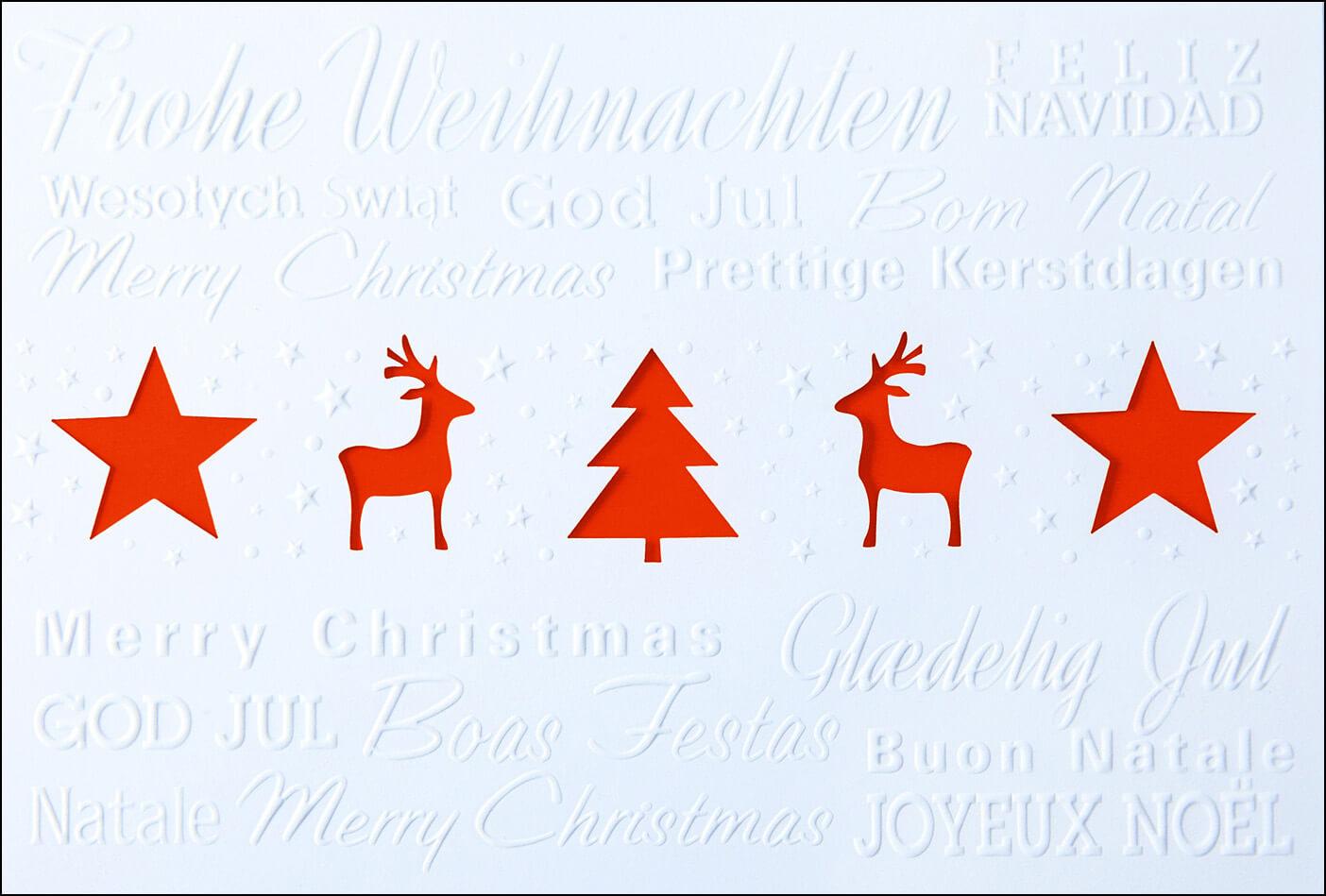 Weihnachtsmotive Für Karten.Weihnachtskarte Weiß Mit Rotem Einleger Und Internationalen Grüßen