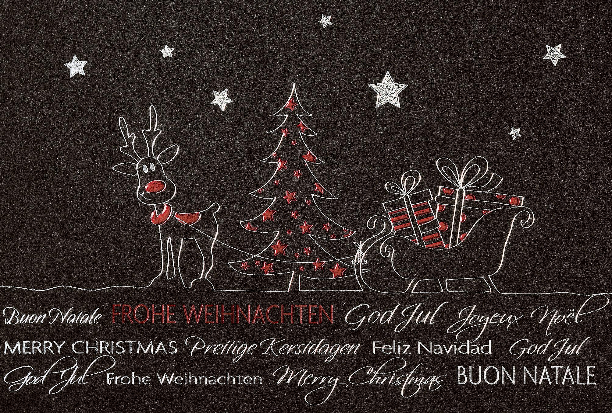 lustige weihnachtskarte schwarz mehrsprachig mit rentier. Black Bedroom Furniture Sets. Home Design Ideas