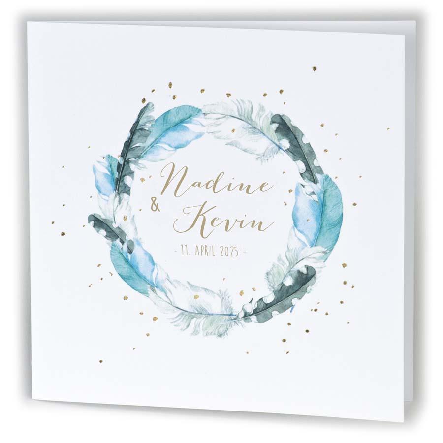 Einladungskarte Im Boho Style Mit Federkranz Und Folienprägung Gold U2013  Hochzeitskarten U2013 Hochzeitseinladungskarten U2013 Nach Farben Sortiert U2013 Blau /  Azurblau ...