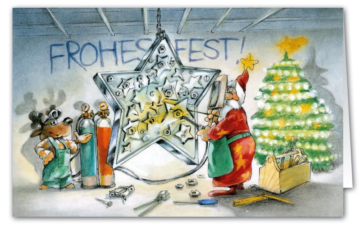 lustige weihnachtskarte als branchenkarte f r metallbau k nstler oder handwerker weihnachten