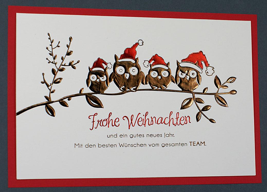 Weihnachtskarte creme mit vier weihnachts eulen auf einem - Weihnachtskarten erstellen ...