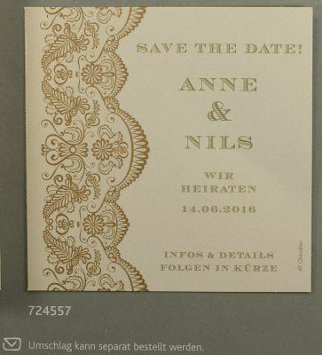 2 Save the date o Zusatzeinladungs Karten cremegold f Hochzeit
