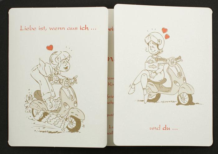 Hochzeitseinladung ic Brautpaar Roller Vespa pr cartoon