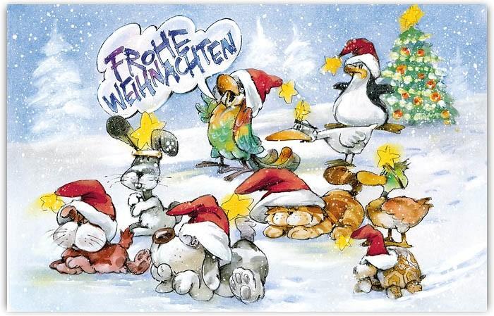 Tierische Weihnachtsgrüße.Bunte Weihnachtskarte Für Tierarzt Tierklinik Tierheim Oder