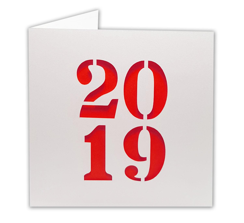 wei e neujahrskarte mit jahreszahl 2019 stanzung und rotem. Black Bedroom Furniture Sets. Home Design Ideas