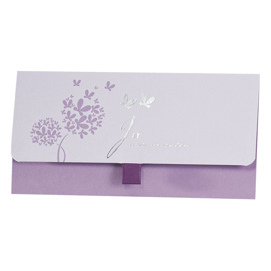 Hochzeitskarte Pockettasche Flieder Lila Mit Schmetterlingen