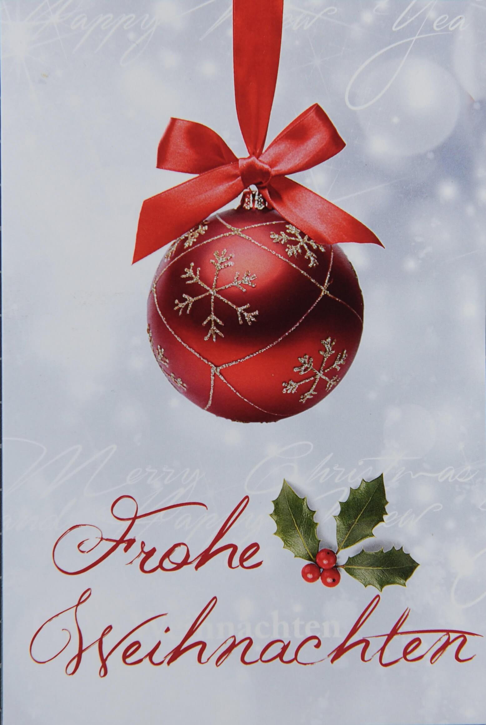 Weihnachtsgrüße Klassisch.Weihnachtskarte Mit Roter Christbaumkugel Und Frohe Weihnachten