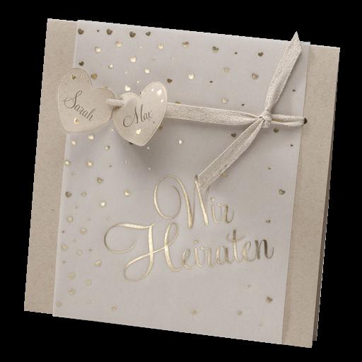 Hochzeitskarte Aus Recycling Kraftpapier Und Transparentpapier