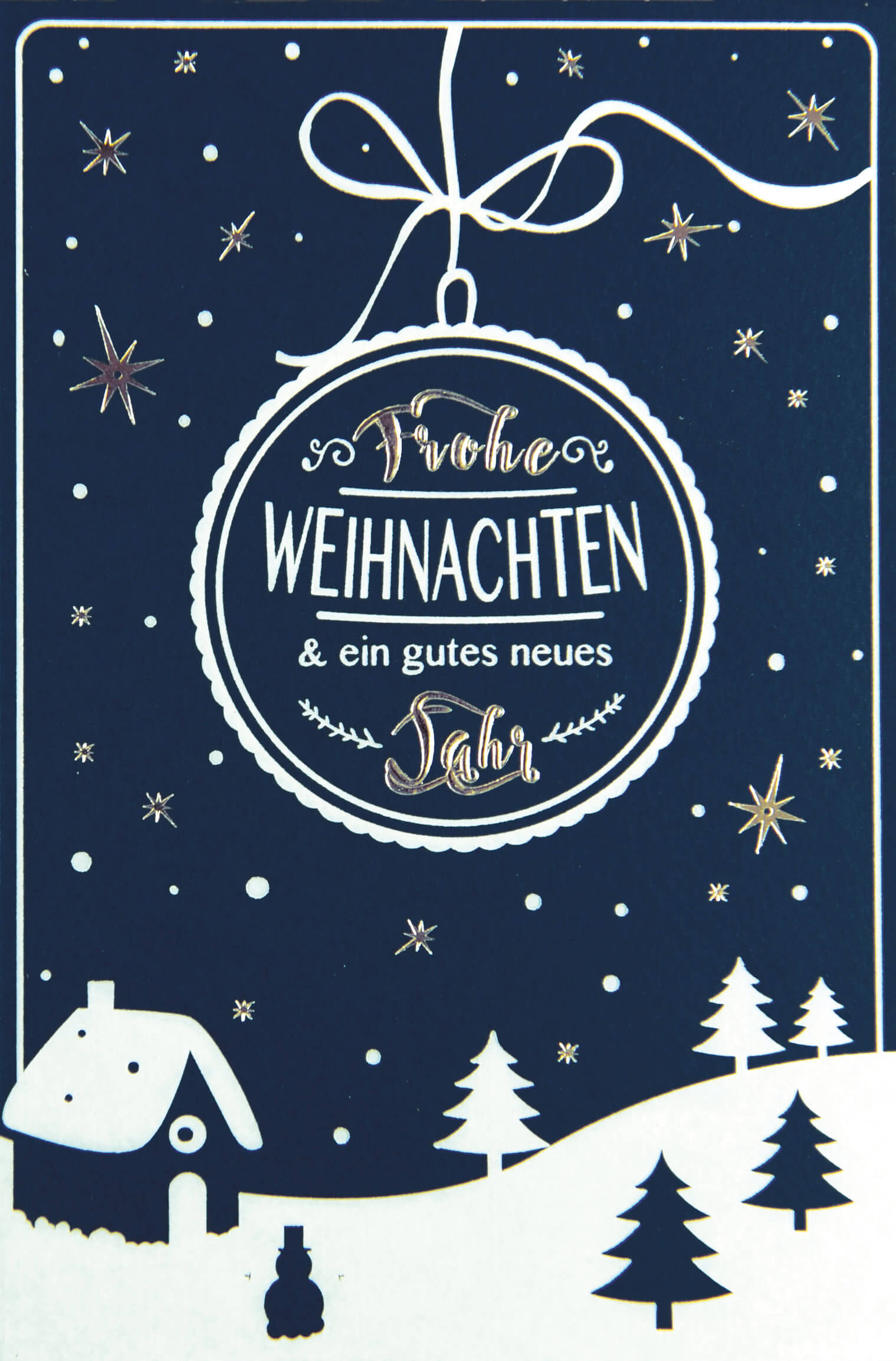 Weihnachtsgrüße Klassisch.Klassische Weihnachtskarte In Blau Mit Winterlandschaft Bei Nacht