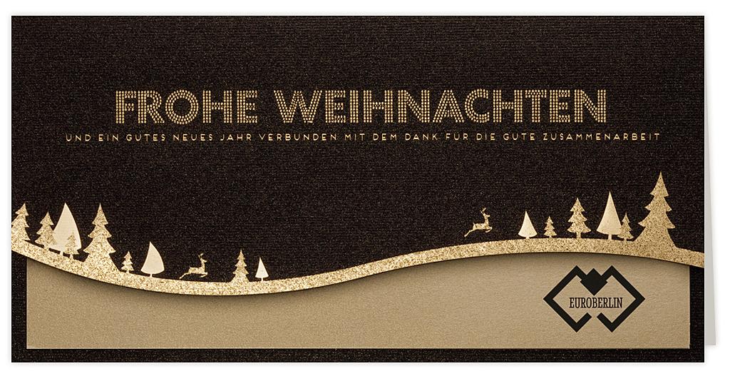 Weihnachtskarte schwarz - gold Effektkarton + Einlegeblatt gold ...